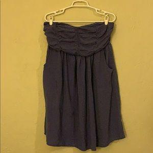 Mini strapless blue polka dot dress